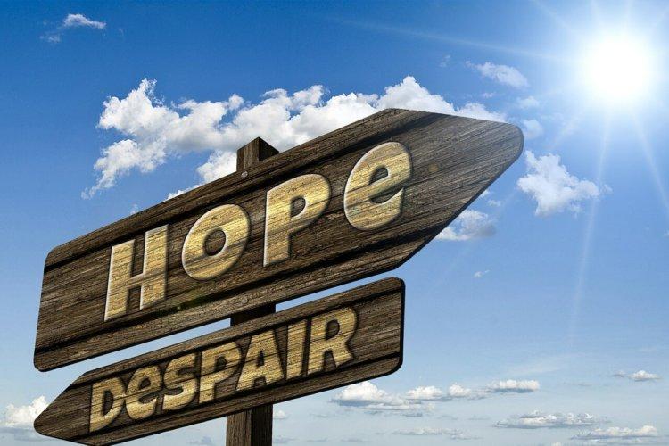 """2 Schilder, eines mit dem Wort """"Hope"""" (Hoffnung), das anderen mit den Wort """"Despair"""" (Verzweiflung), die in verschiedene Richtungen zeigen."""