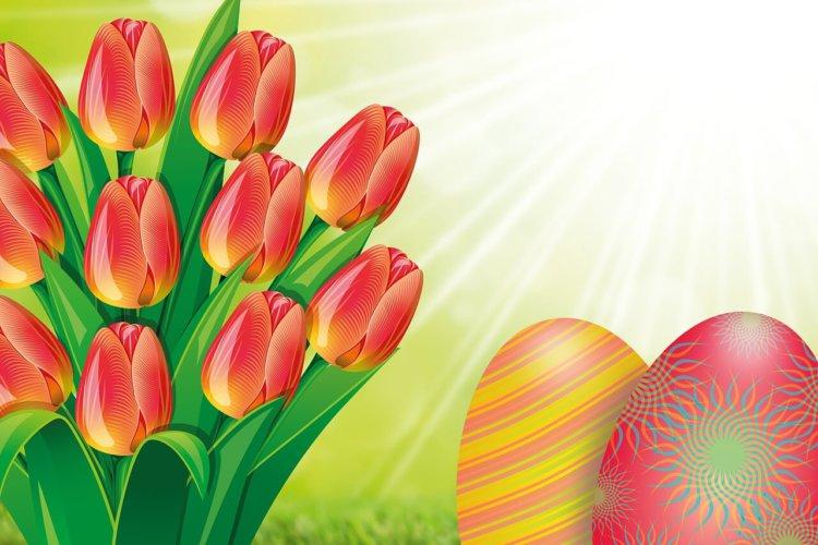 Gezeichnete Tulpen und bunte Ostereier