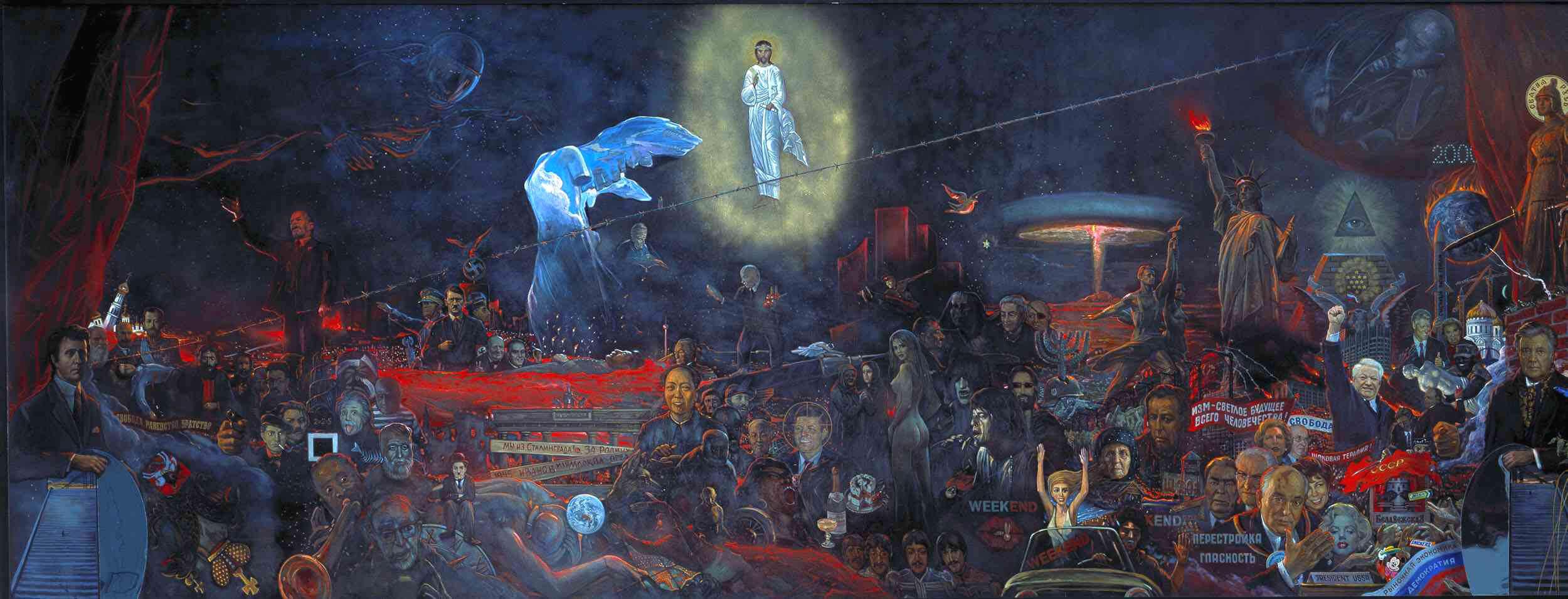 Ilja Glasunow - Persönlichkeiten: Gestalten des 20.Jahrhunderts, im Hintergrund Jesus im Licht