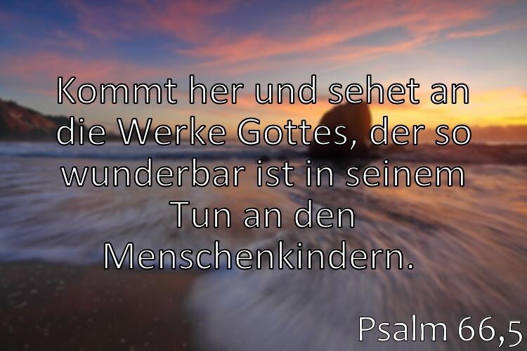 Wochenspruch 5 / 2017: Psalm 66,5: Kommt her und sehet an die Werke Gottes, der so wunderbar ist in seinem Tun an den Menschenkindern.