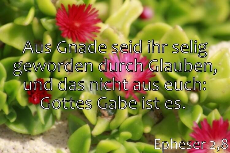 Wochenspruch 29 / 2017: Epheser 2,8: Aus Gnade seid ihr selig geworden durch Glauben, und das nicht aus euch: Gottes Gabe ist es.