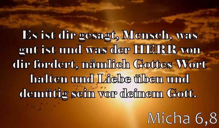 Wochenspruch 44 / 2017: Micha 6,8: Es ist dir gesagt, Mensch, was gut ist und was der HERR von dir fordert, nämlich Gottes Wort halten und Liebe üben und demütig sein vor deinem Gott.
