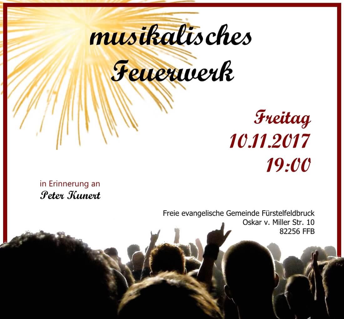Flyer für das dritte musikalische Feuerwerk in der FeG am 10.11.2017 um 19:00 Uhr