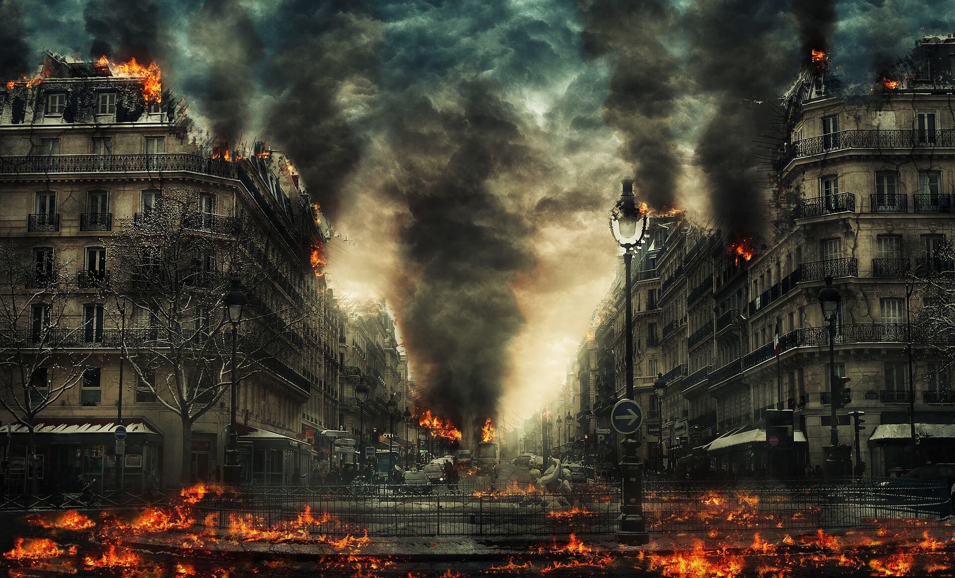 """Symbolbild """"Ende der Welt"""": Brennende Stadt"""