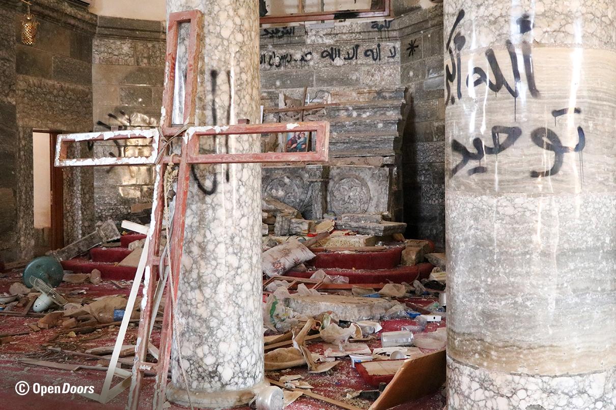 Vom IS zerstörte Kirche im Nahen Osten. Der Großteil der Christen ist geflüchtet. (c) Open Doors