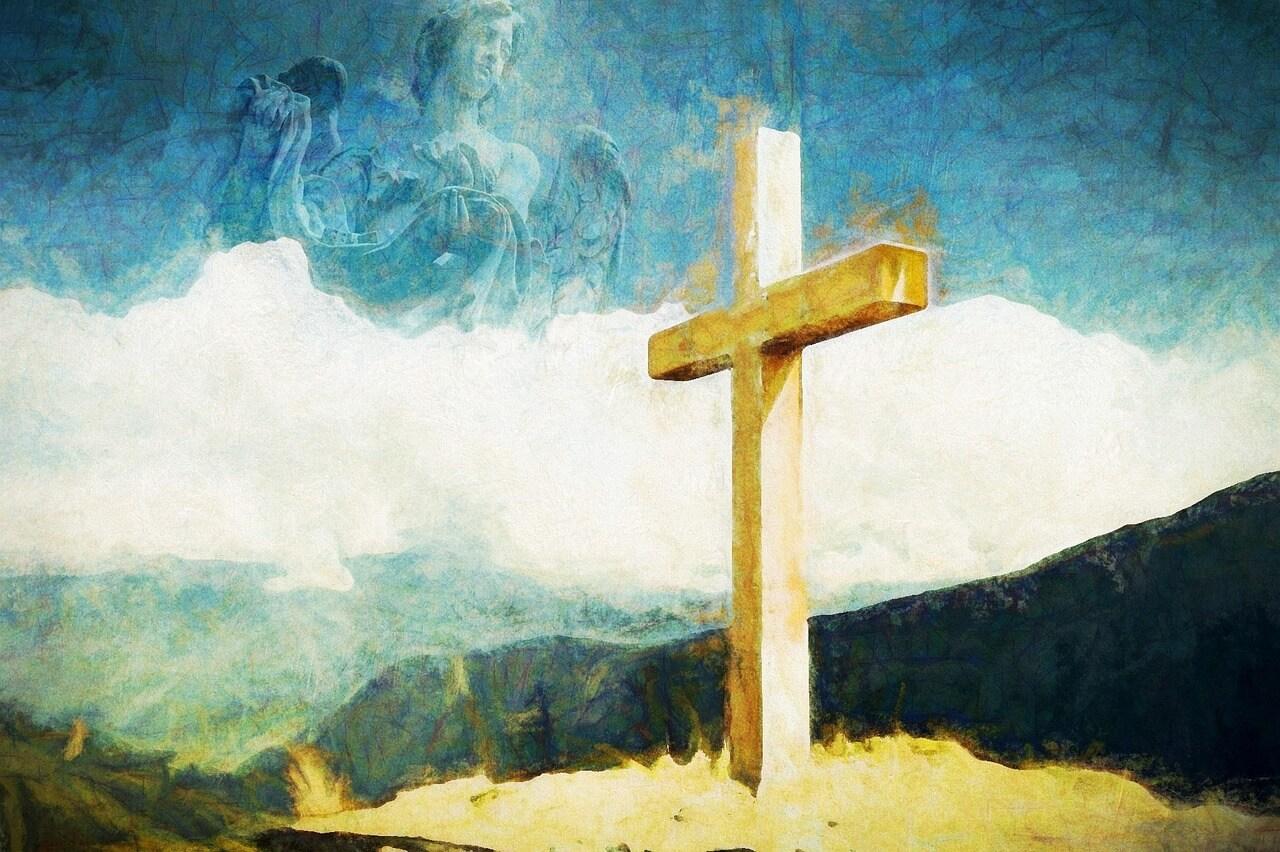 """Kreuz, gemalt. Symbolbild """"Die Auferweckung des Lazarus - einmal anders"""""""